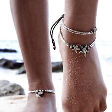 Boho Bohemian Gypsy Silver Beaded Starfish Charm Beach Summer Anklet