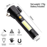 Rechargeable LED Flashlight Lamp Emergency Torch Tail Magnet &Car Safety Hammer