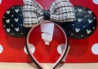 Disney Parks 2021 Mickey Minnie Mouse Tweed And Pearl Ear Headband New