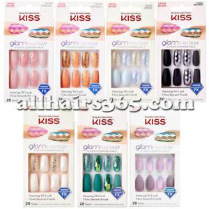Kiss GlamFantasy Diamond Nails 3D Acrylic Matte Glitter Mirror Coffin Gel Press