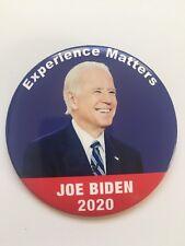 "2020 Vice President Joe Biden for President 3"" Button Experience Matters Pin"