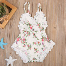 0-6M Infant Baby Girl Clothes Lace Floral Bodysuit Romper Cake Sunsuit Outfits