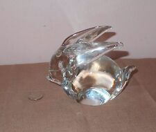 Adorable Vintage Clear Glass Crystal Bunny Rabbit Paperweight