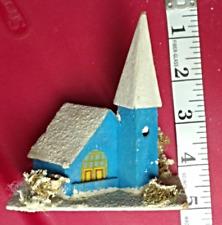 Vintage Christmas Village Church Blue Putz Japan Paper Mache 1920's