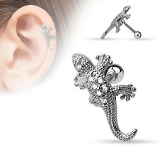 "Rhodium Cartilage/Tragus Bar 16g 1/4"" Cz Paved Lizard 316L Surgical Steel/Brass"