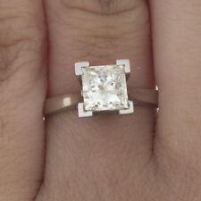 GIA Certified Diamond Engagement Solitaire Ring 1 Carat Princess Cut 14k Gold