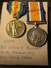 Two (2) WWI British victory  Medals  Pvt. William E Bucknell Army Ordnance Corp
