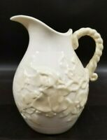 "Vintage Belleek Ivy Creamer Pitcher, 6"" H, 3rd Green Mark, Porcelain, Ireland"