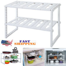 Under Sink 2 Tier Expandable Shelf Organizer Rack Storage Kitchen Tool Holder US