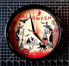 Halloween Scene - Dual Witches - Haunted House- Cat / 9 inch Quartz Clock / NIB