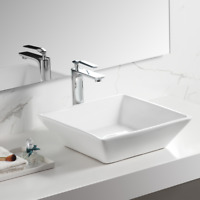 Bathroom Square Above Counter Porcelain Ceramic Vessel Vanity Sink Art Basin US