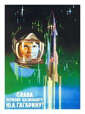 "Soviet Russian Space Propaganda Poster Print GLORY TO GAGARIN 18x24"" #SP001"