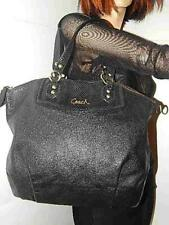Coach F23684 Ashley Pleated Black Leather Satchel Handbag