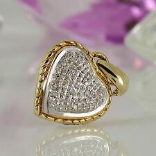 Anhänger Herz in 333 Gelb-Weißgold 8K 10 Diamanten ca 0,05 ct Wesselton si