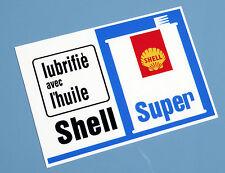 SHELL SUPER  'Lubrifie avec L'huile' vintage style stickers x2 CITROEN Renault 5