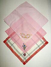 Vintage Lot of 3 Floral Flower Embroidered Cotton Hankies Pink