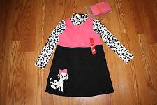 NWT Girls GYMBOREE 3 Pc Ivory Shirt Pink Black White Dalmatian Dress Set Size 6