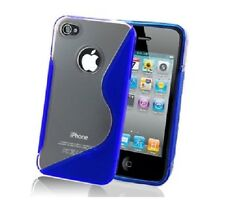 Fits Apple iPhone 4 4S Blue S Line Skin Case Cover Protector Clear Gel Exact Fit