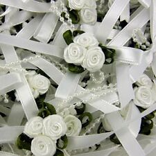 5 x Cluster  Triple Trio Roses Satin Ribbon Bows With Pearls  -choose colour
