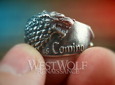 Game of Thrones Direwolf Ring of House Stark - 925 Silver Plated - Size 8/9/10