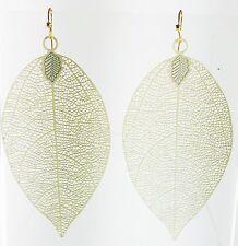 USA Charming Earring Chunky Fancy Lightweight Dangle Drop Leaf New Cream