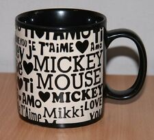 RARE I Love You Mickey Mouse Je T'aime Mi Amo Black White Raised Letters Mug Cup