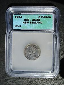 1934 New Zealand 6 Pence, ICG AU 53
