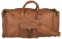 Men's Genuine Chic Leather Vintage Duffel Overnight Travel Luggage Gym Bag
