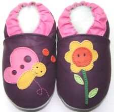 Minishoezoo 6-12 m blossom purple soft sole leatherbaby crib shoes slippers