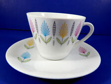 Vintage Seltmann Weiden Bavaria Tea Cup and Saucer Red Yellow Blue Flowers