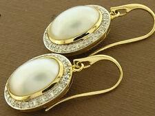 C941 Genuine 9K Yellow Gold Large Natural Mabe Pearl & Diamond Drop Earrings
