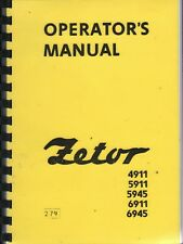 ZETOR 4911 5911 5945 6911 6945 Tractor Operator's Instruction Manual 1979