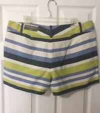 Ann Taylor Linen Blend Blue Lime Green White Striped Shorts Size 14 Petite