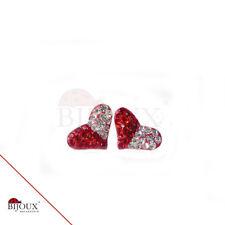 Orecchini Argento 925  Cuore Brillantini Rosso /Bianco Donna Ragazze