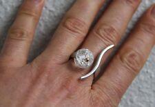 Bergkristall Ring 925 Silber 750 Gold Kugel modern offen elegant bicolor