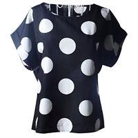 Summer Women Chiffon Blouse Sheer Tops Casual Batwing Short Sleeve Loose T Shirt