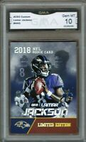 GMA 10 Gem Mint LAMAR JACKSON 2018 Rookie Gems ACEO ROOKIE CARD RAVENS!