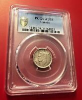 Canada 1937 10 Cents PCGS Graded AU 58