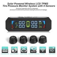 Wireless Solar Farbe LCD Auto Reifendruckkontrollsystem TPMS +4 Externe Sensoren