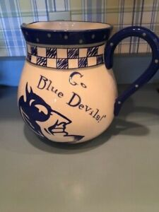 "HARD-TO-FIND DUKE BLUE DEVILS GAMEDAY CERAMIC PITCHER 9"" DIAMETER by  8.5"" TALL"