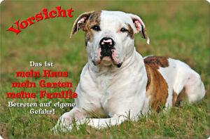 American BULLDOG - A4 Metall Warnschild Türschild SCHILD Hundeschild - AMB 07 T1