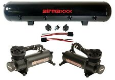 AirMaxxx 480 Dual Black Compressors 5 Gallon Tank Air Bag Suspension 200 psi Kit