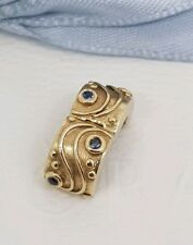 Authentic Pandora 14k Gold Blue Sapphire Babbling Brook Clip Charm 14ct 750418SA