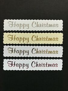Happy Christmas deckled banners / card toppers sentiments embellishments  pk10