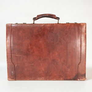 """Vintage Distressed Renwick Riviera Leather Briefcase Made in Canada 18x15x4"""""""