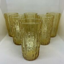 6 Amber Bamboo Tumblers Water Glass Cups Vintage