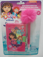 Dora & Friends Girl's Mini Diary with Lock and Fluffy Feather Top Pen New