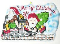 Vintage Christmas Decor Plastic Molded Wall Hanging Decoration Elves Train Tree