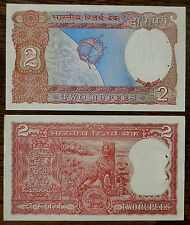 INDIA (1970-80's) 2 Different Old 2 Rupees Banknotes - Tiger + Satellite - UNC