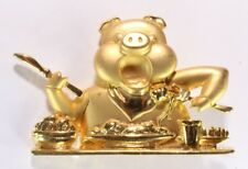 Brooch Pin - Signed JJ - Pig Eating - Fork Knife Plate Table Bowl - Gold Tone